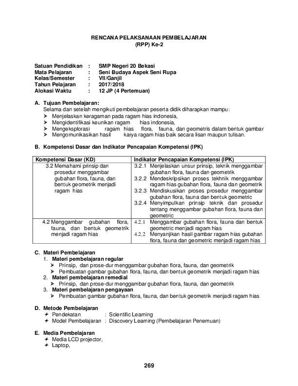 Doc Rpp Ke 2 Bab 2 Seni Rupa Kls Vii Docx Yogie Cancers Academia Edu