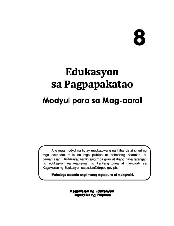 PDF) Edukasyon sa Pagpapakatao Modyul para sa Mag-aaral