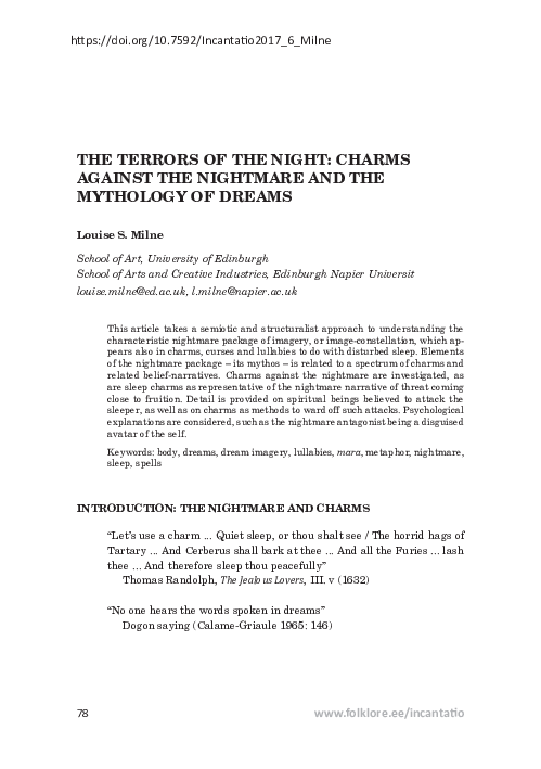 PDF) The Terrors of the Night: Charms against the Nightmare and the