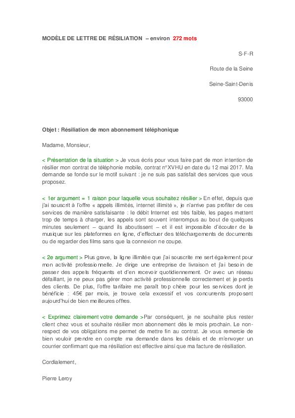 Doc Modèle De Lettre De Résiliation Environ 272 Mots