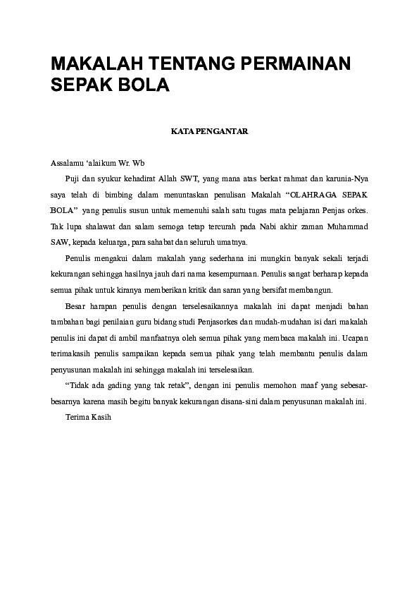 Doc Makalah Tentang Permainan Sepak Bola Aaf Andesum Academia Edu