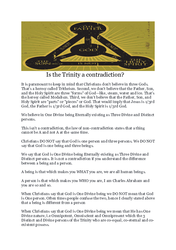 PDF) Is the Trinity a contradiction   Charles Abraham