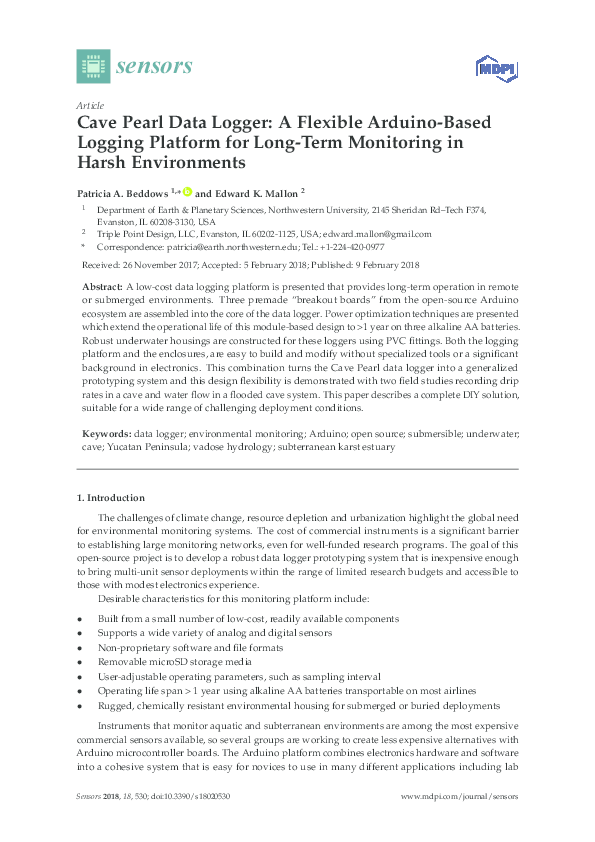 PDF) Cave Pearl Data Logger: A Flexible Arduino-Based
