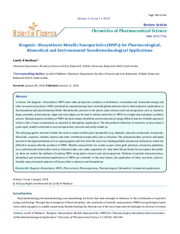 PDF) Chronicles of Pharmaceutical Science Review Article