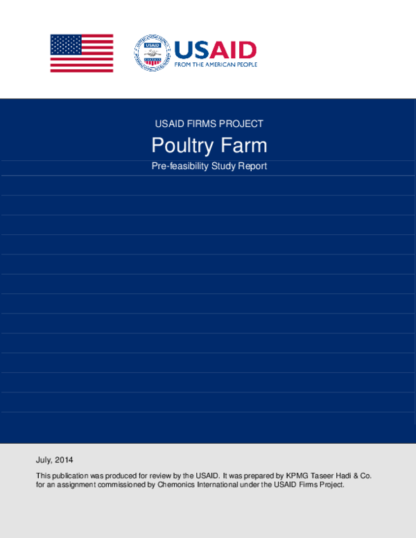 PDF) USAID FIRMS PROJECT Poultry Farm Pre-feasibility Study Report