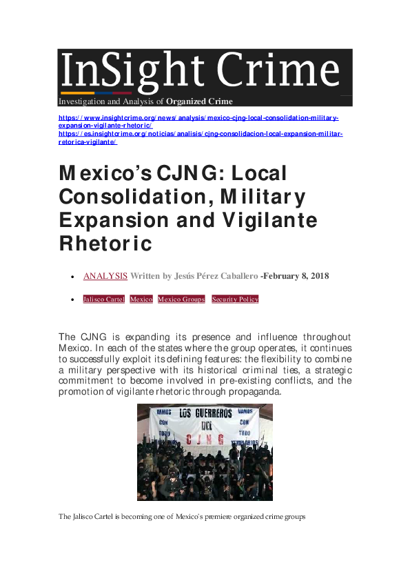 PDF) Mexico's CJNG: Local Consolidation, Military Expansion