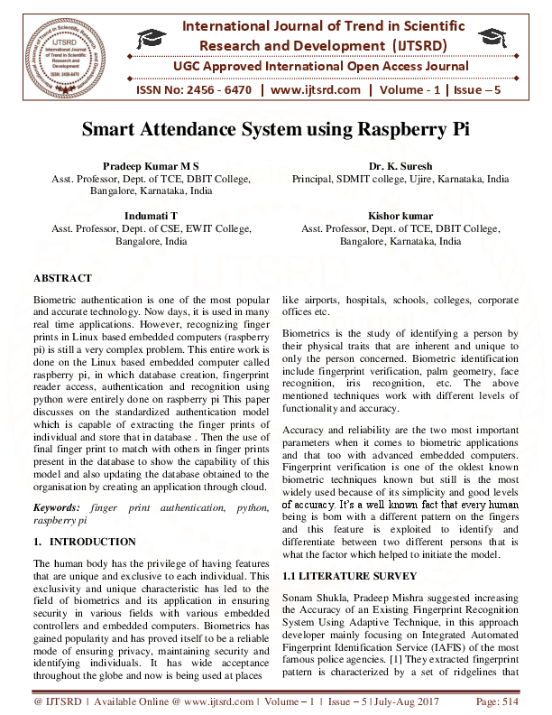 PDF) Smart Attendance System using Raspberry Pi