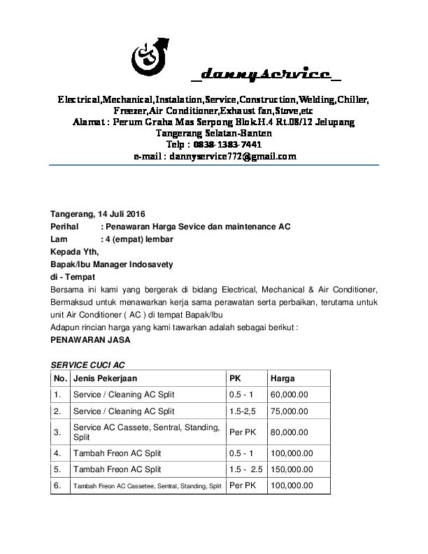 Doc Surat Penawaran Service Ac By Rahmat Hidayatullah