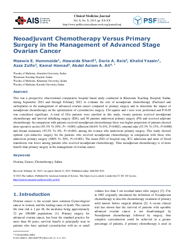Doc Neoadjuvant Chemotherapy Versus Primary Surgery In Advanced Stage Ovarian Cancer Published Paper Docx Azza Zulfu Academia Edu