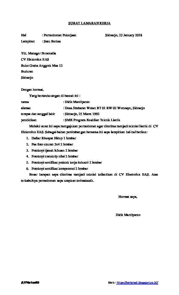 Contoh Lamaran Kerja Dan Daftar Riwayat Hidup Research Papers Academia Edu