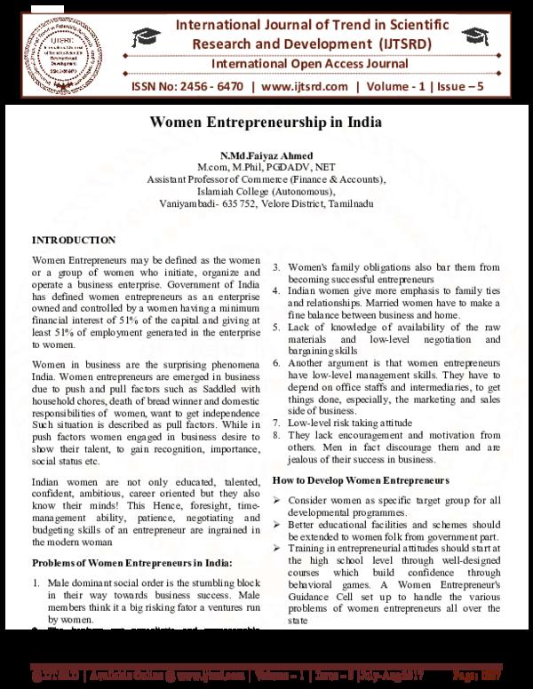 PDF) Women Entrepreneurship in India | International Journal