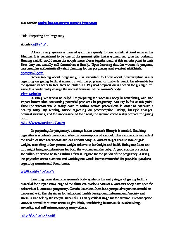 Contoh Artikel Contoh Artikel Bahasa Inggris Tentang Kesehatan