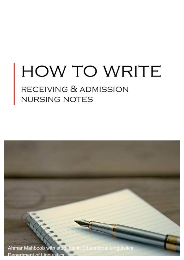 PDF) How to Write: Receiving and Admission Nursing Notes
