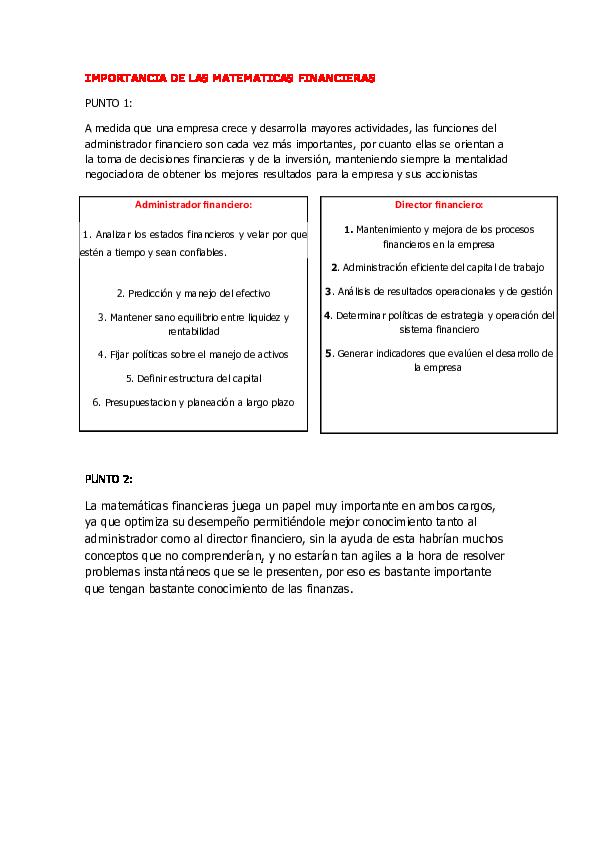 Doc Importancia De Las Matematicas Financieras Alberto