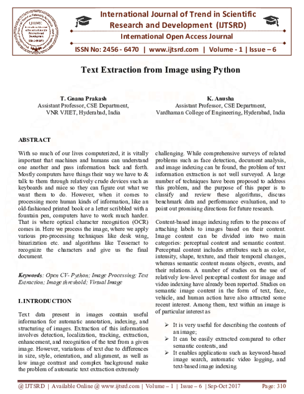 PDF) Text Extraction from Image using Python   International