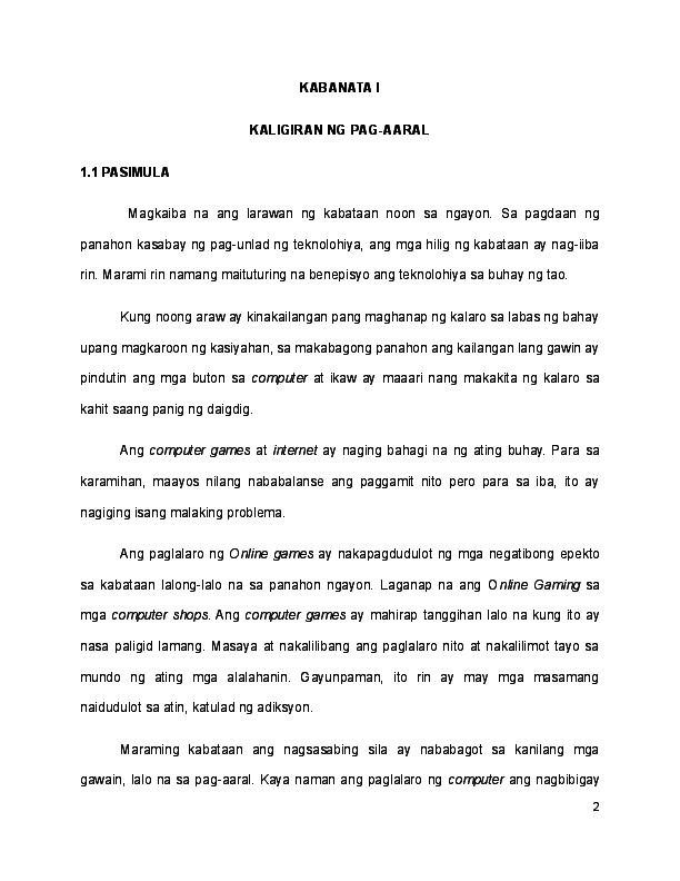 epekto ng paglalaro ng computer games sa mga mag-aaral thesis