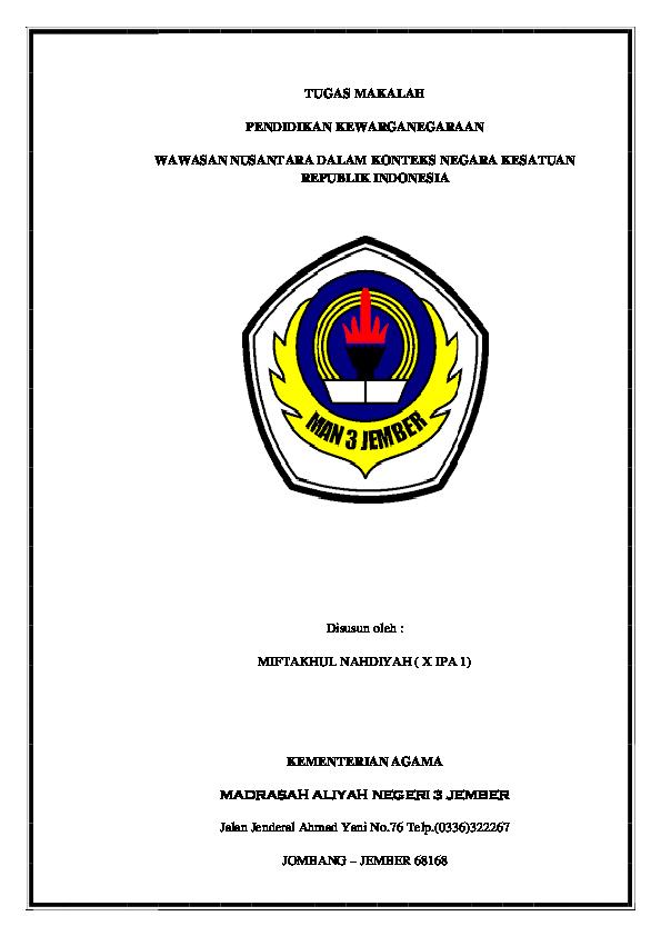 Makalah Wawasan Nusantara Dalam Konteks Nkri Contoh Makalah