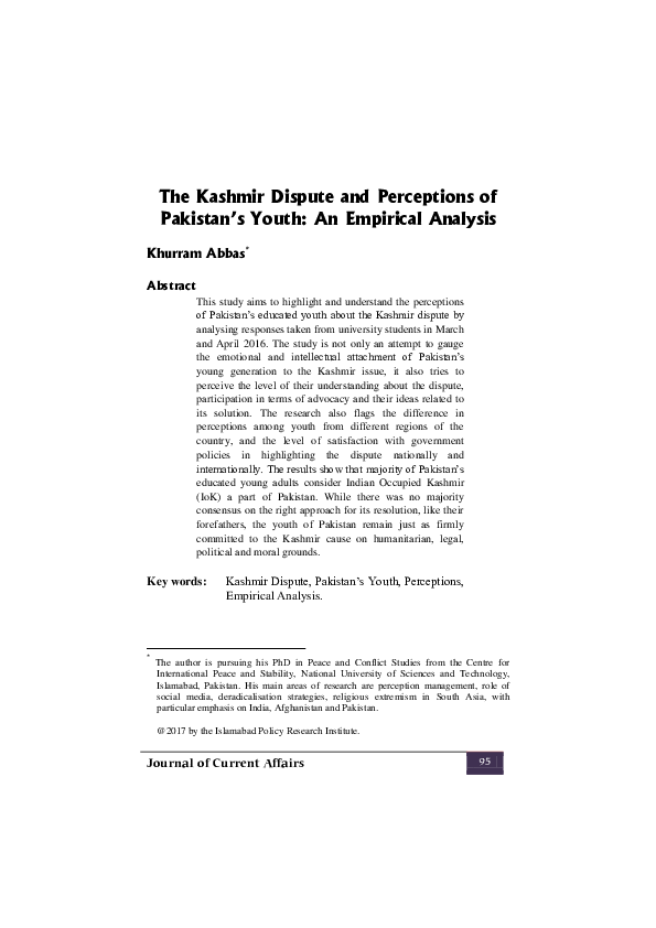 PDF) The Kashmir Dispute and Perceptions of Pakistan's Youth: An