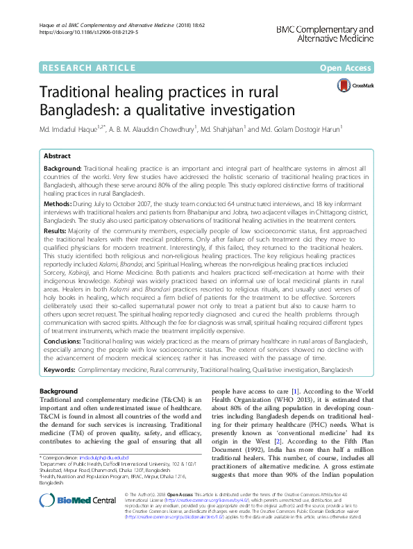 PDF) Traditional healing practices in rural Bangladesh: a
