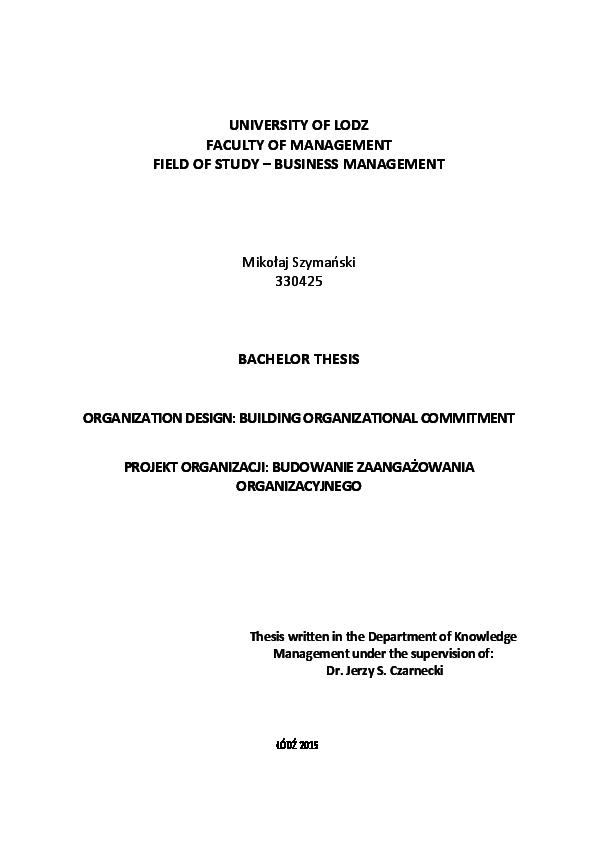 Pdf Organizational Design Building Organizational Commitment Mikolaj Szymanski Academia Edu