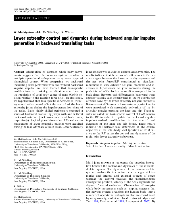 PDF) Lower extremity control and dynamics during backward