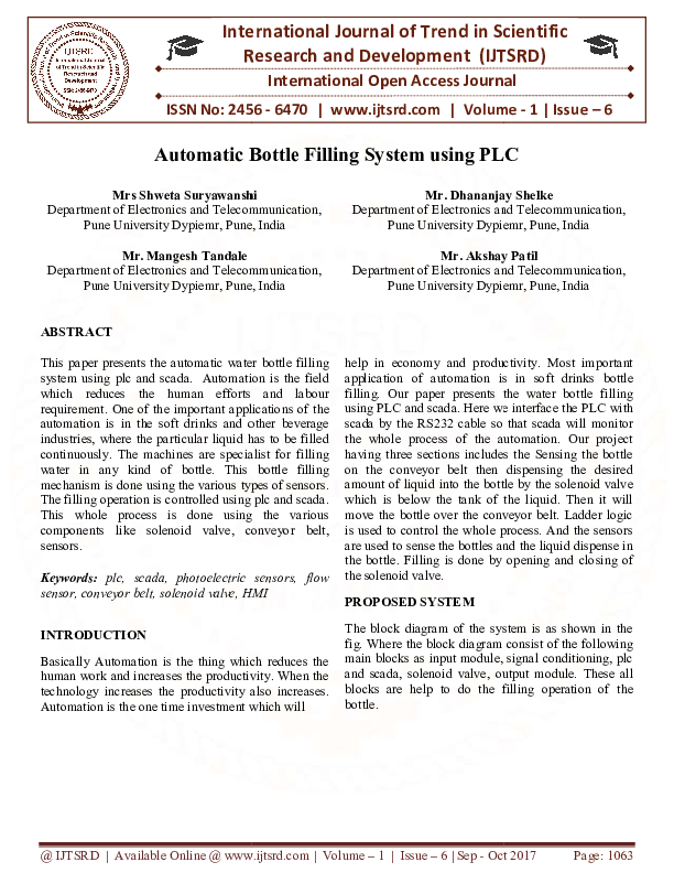 Pdf Automatic Bottle Filling System Using Plc International Journal Of Trend In Scientific Research And Development Ijtsrd Academia Edu
