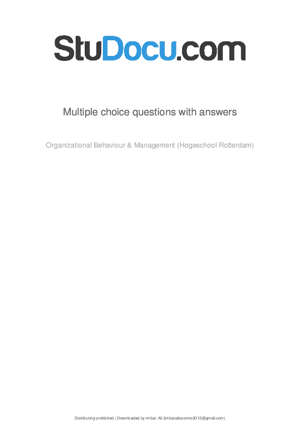 PDF) Multiple choice questions with answers Organizational Behaviour