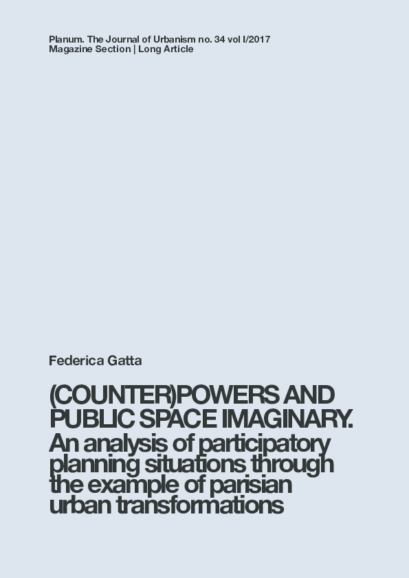 COUNTER)POWERS AND PUBLIC SPACE IMAGINARY  An analysis of