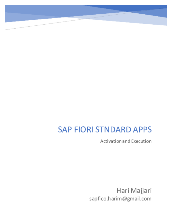 PDF) SAP FIORI STNDARD APPS Activation and Execution | Raja Kumar
