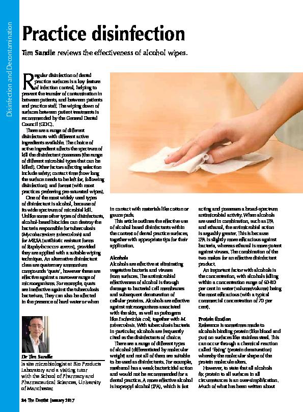 PDF) Practice Disinfection | Tim Sandle - Academia edu
