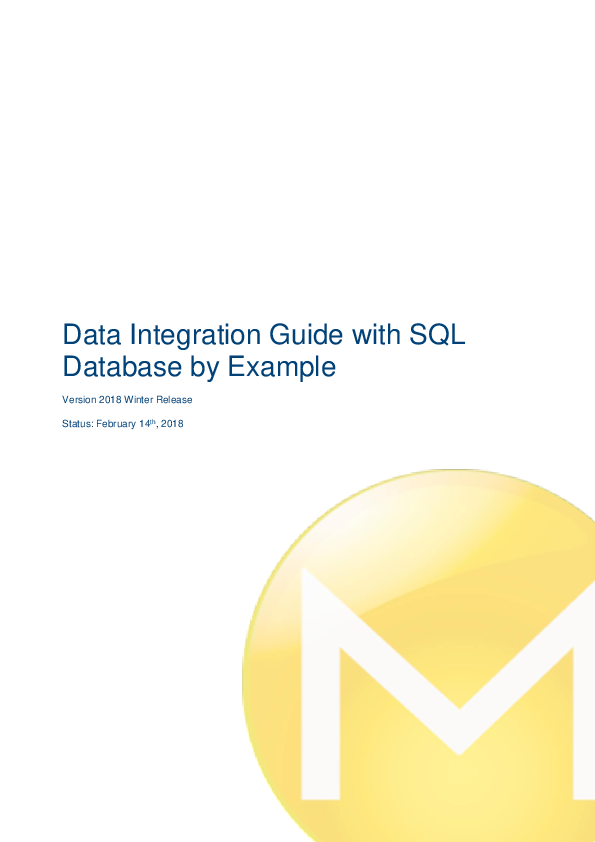 PDF) Data Integration Guide with SQL Database by Example | Arun