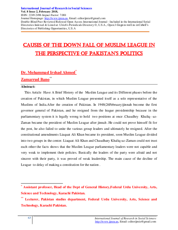 PDF) CAUSES OF THE DOWN FALL OF MUSLIM LEAGUE IN THE PERSPECTIVE OF