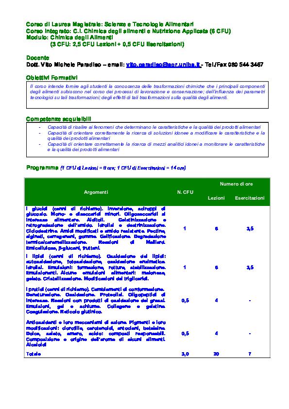 carino e colorato ultimi progetti diversificati ampia selezione di design PDF) Programma di Chimica degli Alimenti | Vito M Paradiso ...