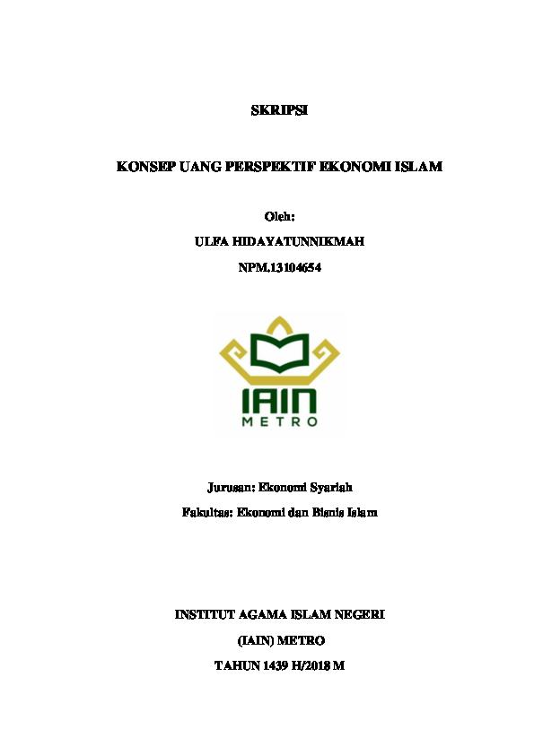 Pdf Skripsi Konsep Uang Perspektif Ekonomi Islam Ulfa Hidayatun