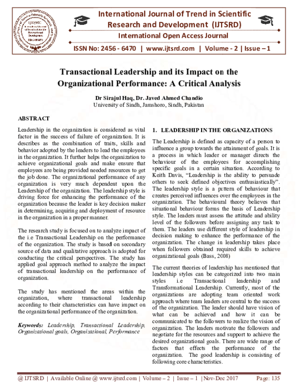 Pdf Transactional Leadership And Its Impact On The Organizational Performance A Critical Analysis International Journal Of Trend In Scientific Research And Development Ijtsrd Academia Edu