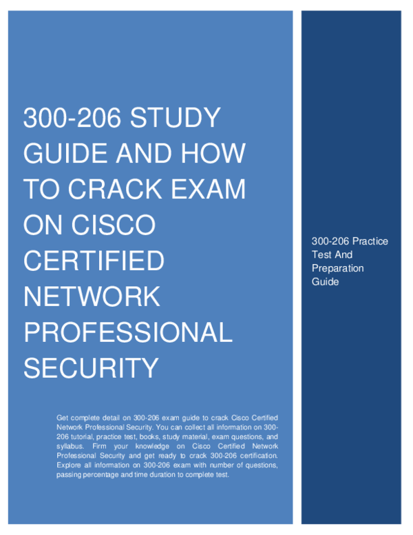 PDF) 300-206 STUDY GUIDE AND HOW TO CRACK EXAM ON CISCO