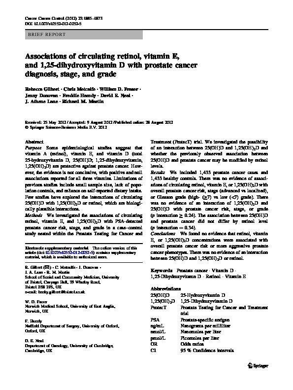 PDF) Associations of circulating retinol, vitamin E, and 1