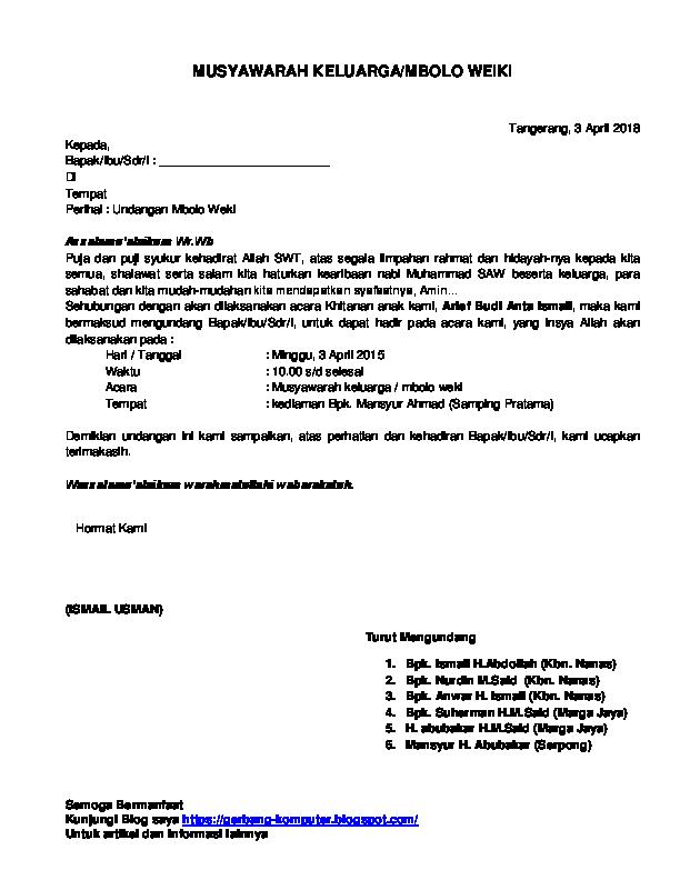 Doc Contoh Surat Undangan Musyawarah Keluarga Rahmat Hidayatullah Academia Edu
