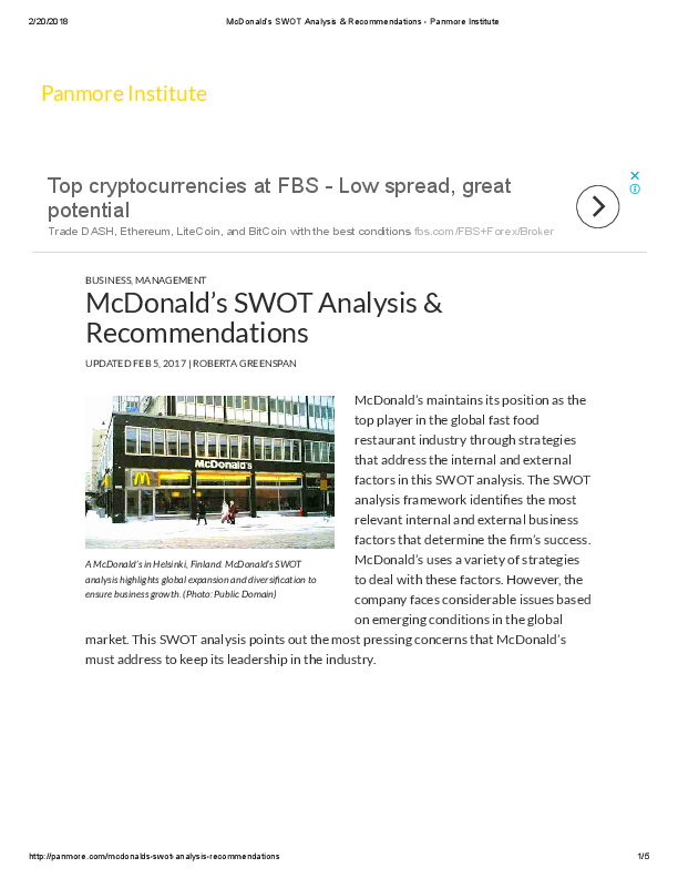 PDF) Mc Donalds SWOT Analysis Recommendations Panmore