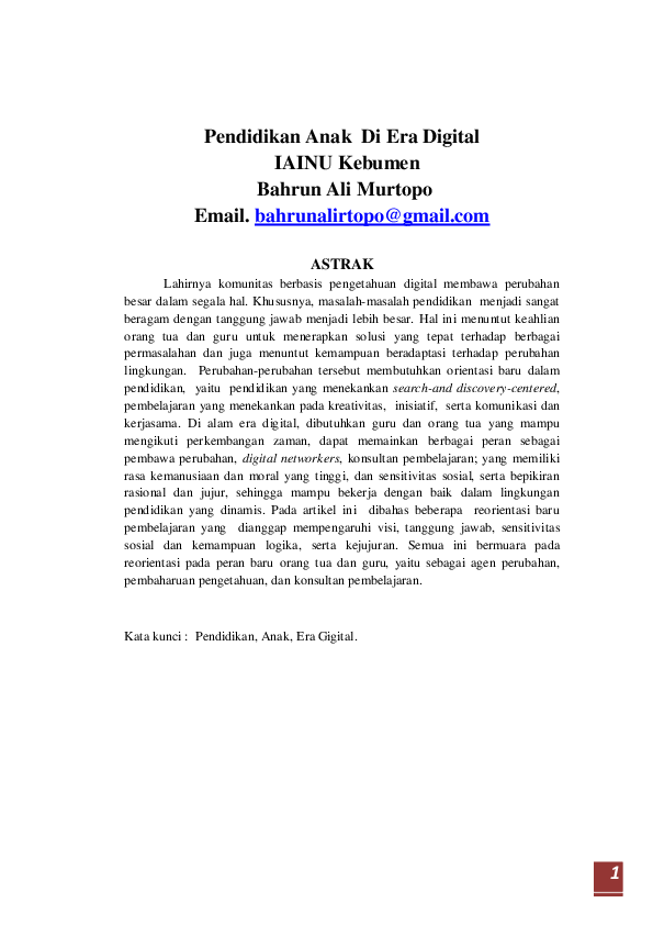 Pdf Pendidikan Anak Di Era Digital Bahrun Ali Murtopo Academia Edu