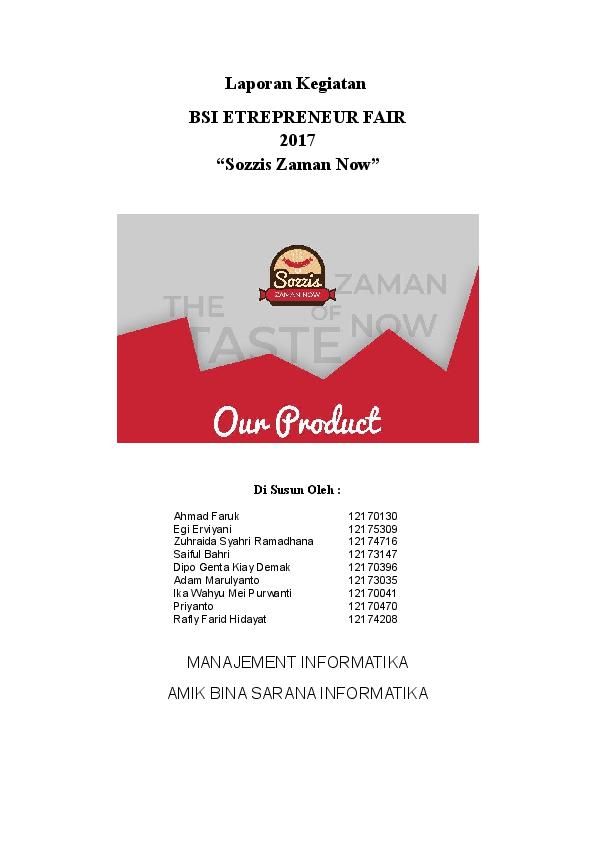 Contoh Makalah Laporan Penjualan Makanan