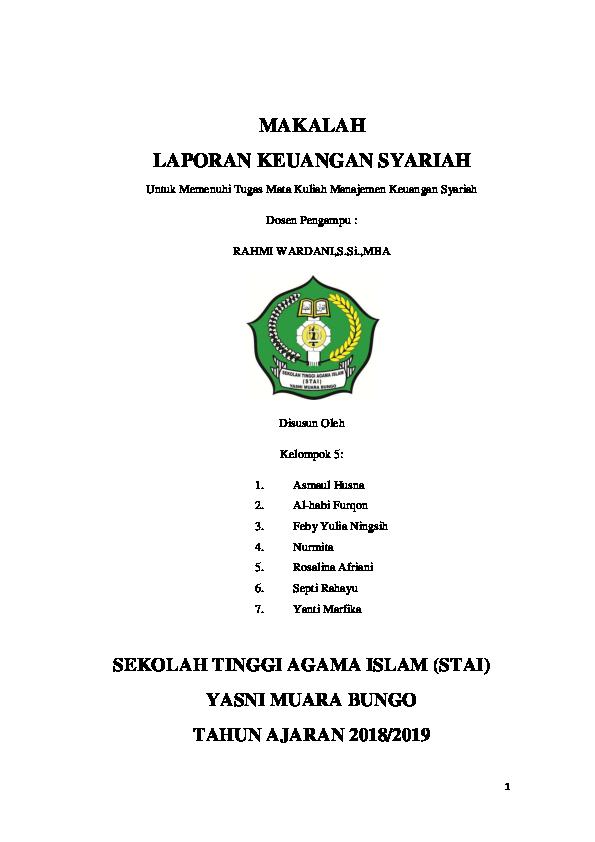 Pdf Makalah Laporan Keuangan Syariah Sekolah Tinggi Agama Islam Stai Yasni Muara Bungo Feby Yulianingsih Academia Edu