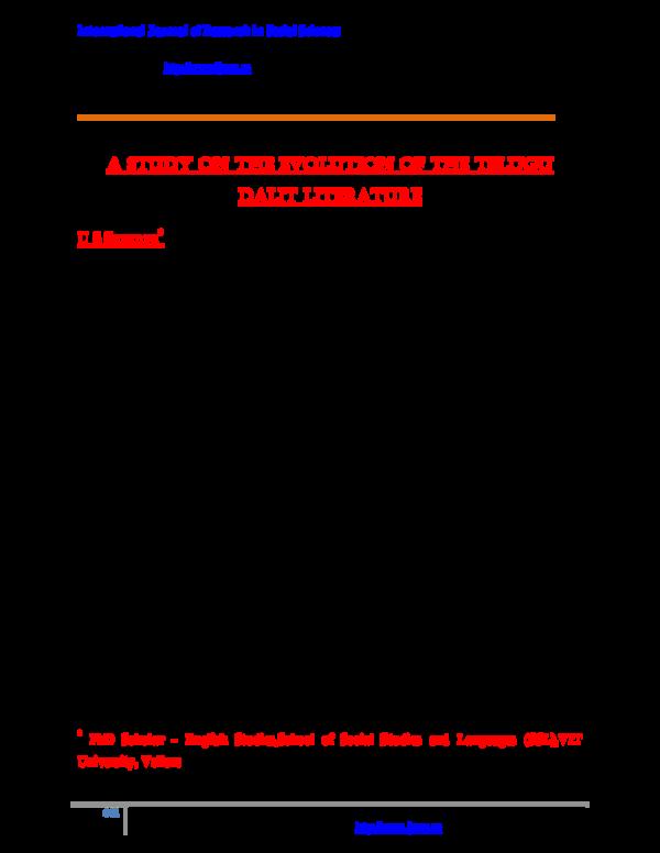 PDF) A Study on the Evolution of the Telugu Dalit Literature