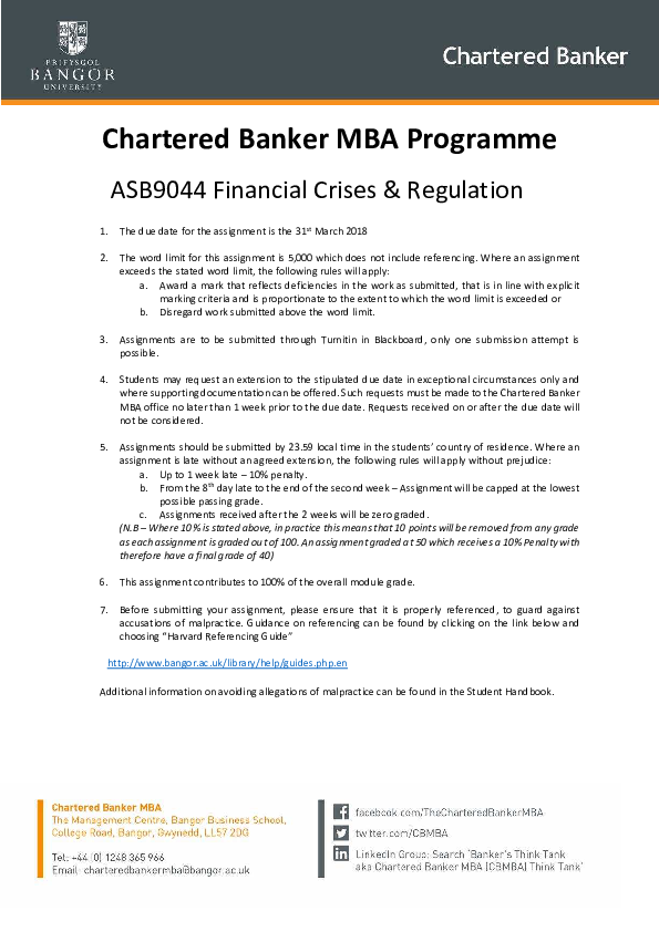 PDF) Chartered Banker MBA Programme ASB9044 Financial Crises