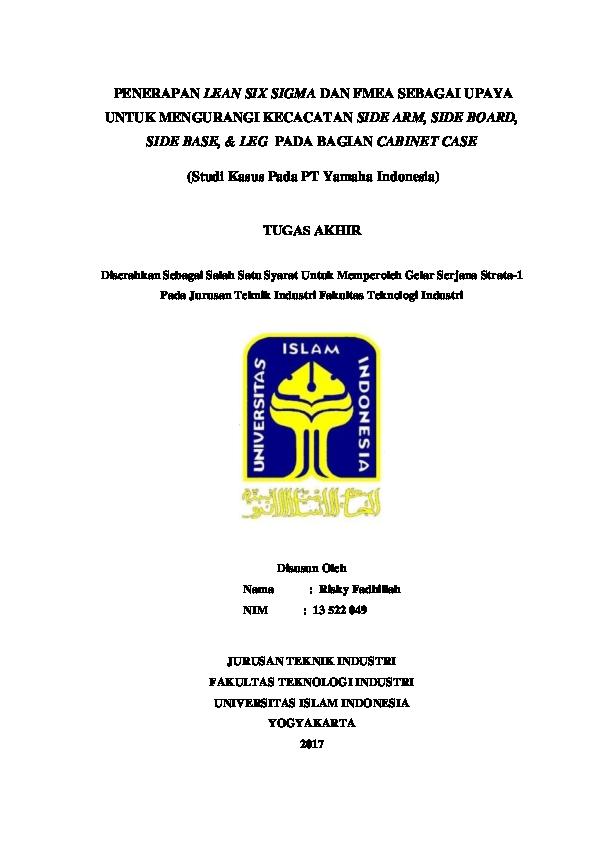 Doc Tugas Akhir Teknik Industri Fix Your Feelings Academia Edu