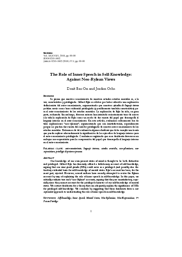 PDF) The Role of Inner Speech in Self-Knowledge: Against Neo