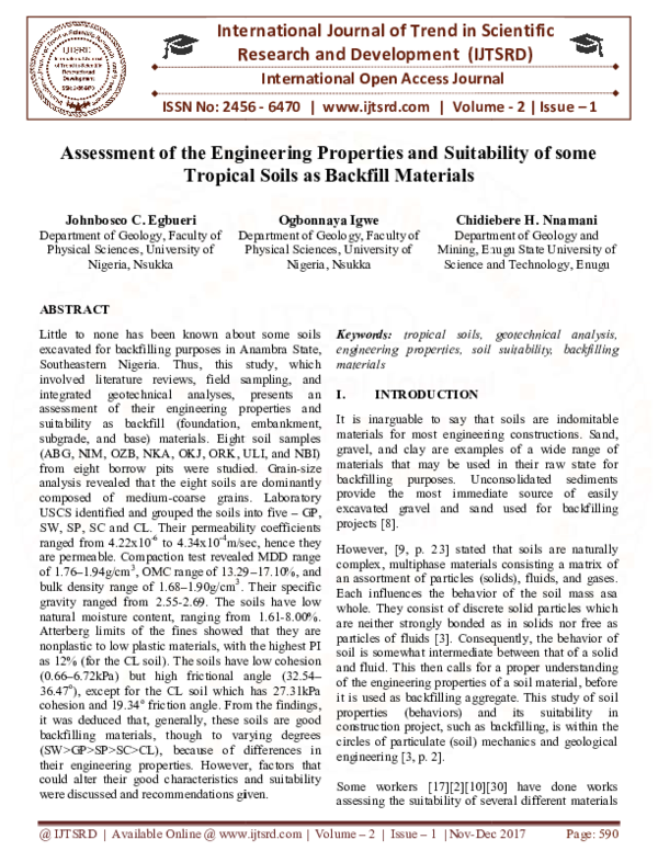 PDF) Assessment of the Engineering Properties and