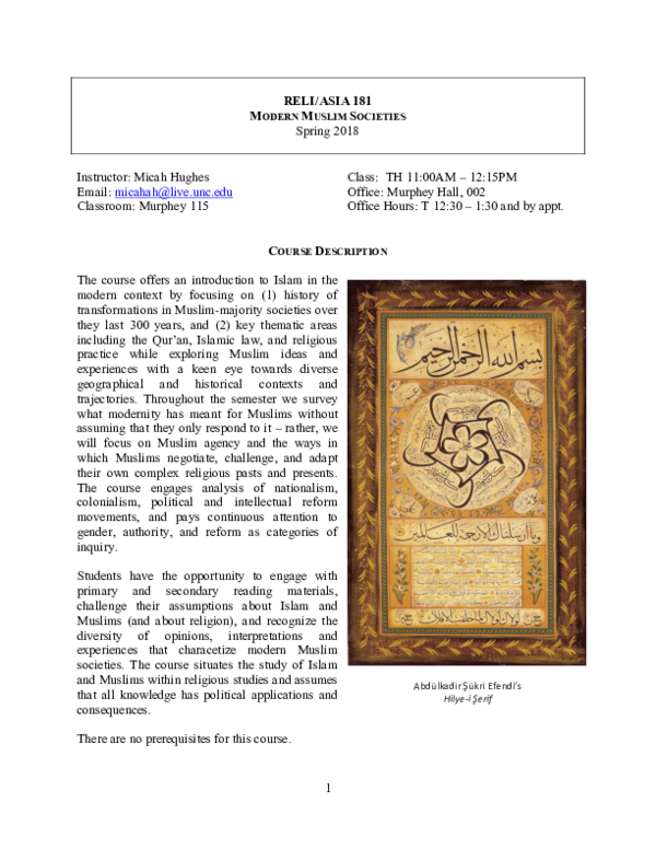 PDF) Syllabus: Modern Muslim Societies, Spring Semester