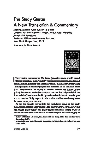 PDF) Peter Samsel's Review of Nasr et al  (ed ), The Study