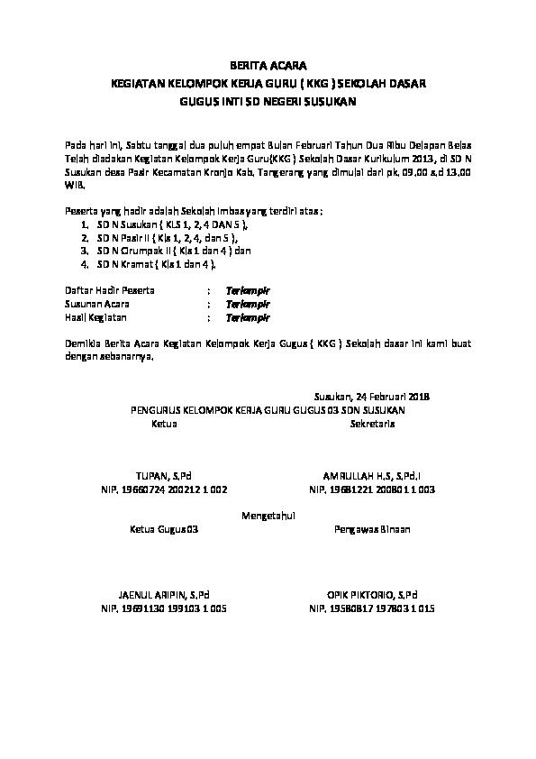 Doc Berita Acara Kegiatan Kelompok Kerja Guru Kkg Sekolah Dasar Gugus Inti Sd Negeri Susukan Amrullah Haji Sholeh Academia Edu